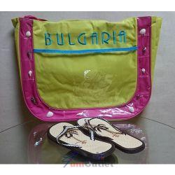 Плажна чанта и джапанки с бродерия и естествени миди, комплект