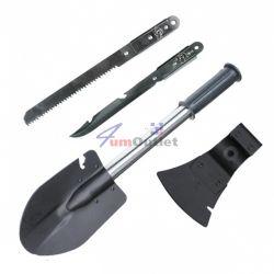 Комплект за къмпинг и туризъм - лопатка, брадва, трион и нож